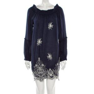 Misa Los Angeles Shift Dress Blue White Embroidery